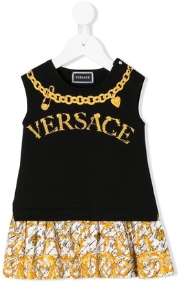 Versace Sleeveless Chain Logo Print Dress