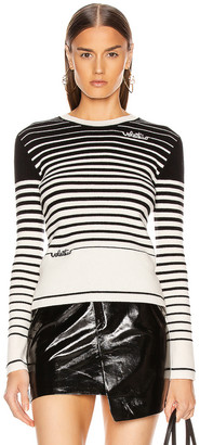 Valentino Long Sleeve Striped Sweater in White & Black | FWRD