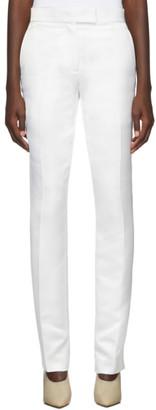 Helmut Lang White Straight Heavy Satin Trousers