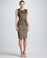 Carolina Herrera Belted Twill Dress, Olive