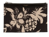 Saint Laurent Hibiscus-print Mini Canvas Pouch