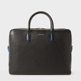 Men's Black Leather 'Cycle Stripe' Detail Business Folio