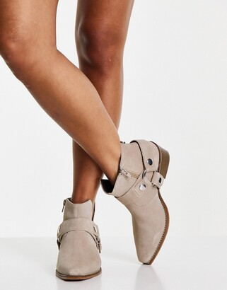 Steve Madden gold western heeled ankle boots in beige suede