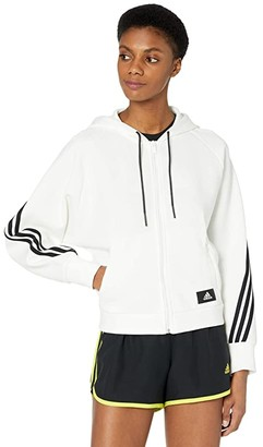 adidas Fleece 3-Stripes Full Zip Hoodie (Crew Navy/Hazy Blue) Women's Clothing