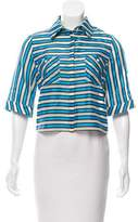 Tanya Taylor Striped Cropped Button-Up Top