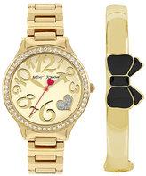 Betsey Johnson Betseys Holiday Bangle And Watch Gold Set