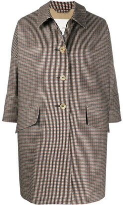 MACKINTOSH checkered buttoned A-line coat