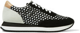 Loeffler Randall Rio perforated leather, suede and canvas sneakers