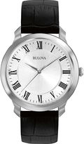 Bulova Mens Black Leather Strap Watch 96A133