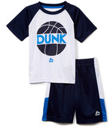 Rbx RBX Boys' Active Shorts BRIGHT - Bright White & Navy 'Dunk' Crewneck Tee & Shorts - Toddler