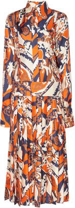 Victoria Beckham Printed Pleated Silk Shirtdress
