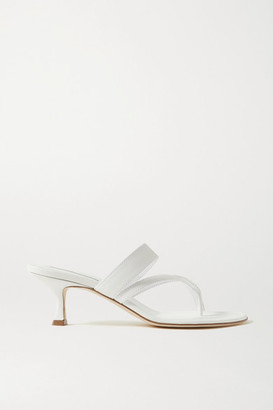 Manolo Blahnik Susa Leather Sandals - White