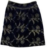 Cynthia Steffe Blue & Gold Velvet Embroidered Skirt