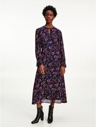Tommy Hilfiger Floral Long Sleeve Midi Dress