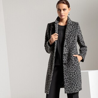 Anne Weyburn Single-Breasted Leopard Print Coat with Pockets