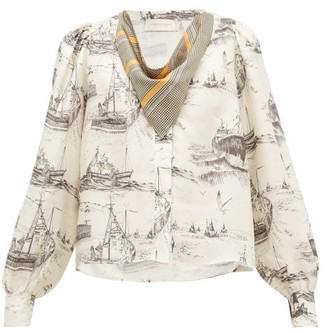 La Prestic Ouiston Vegas Neckerchief Toile-print Silk Blouse - Womens - Ivory Multi