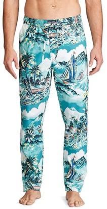 Polo Ralph Lauren Tropical Stretch Woven PJ Pants (Stormy Tropical Print/Cruise Navy Pony Print) Men's Pajama
