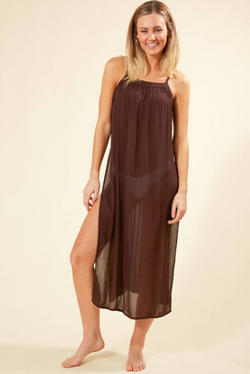 O'Neill Layna Midi Cover Up Dress Brown S