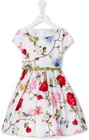 MonnaLisa floral print dress - kids - Cotton/Polyamide/Coconut - 4 yrs