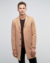 Selected Overcoat In Cashmere Mix In Camel