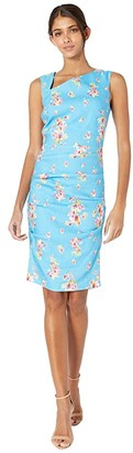 Nicole Miller Pink Dawn Stretch Linen Asymmetrical Dress (Bahama Blue) Women's Dress