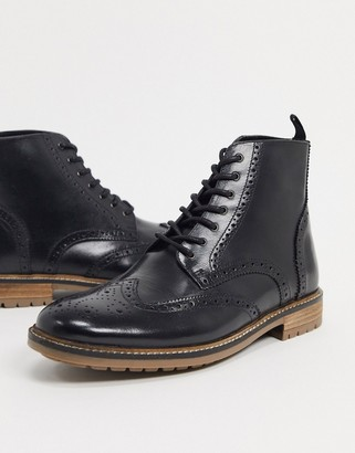 Silver Street lace up brogue boots in black leather