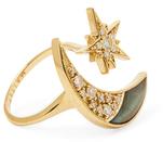 Maiyet 18K Yellow Gold, Labradorite & 0.38 Total Ct. Diamond Moon & Stars Ring