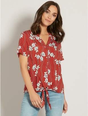 M&Co Tropical floral tie front shirt