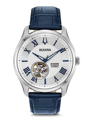Bulova Mens Skeleton Quartz Watch with Leather Strap 96A206