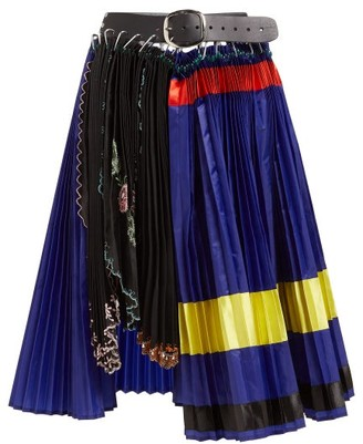 Chopova Lowena - Leather-belted Colour-block Pleated Midi Skirt - Womens - Multi