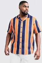BoohooMAN Big & Tall Contrast Stripe Revere Collar Shirt