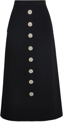 Andrew Gn Crystal-Button Midi Skirt