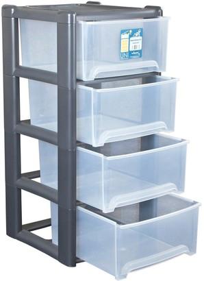 Wham 4-Drawer Tower Storage Unit in Grey