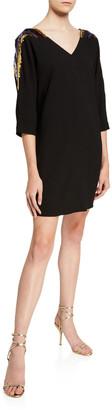 Trina Turk Shobu Sequin Embellished 3/4-Sleeve Crepe Shift Dress