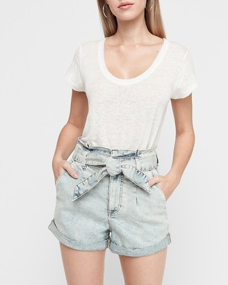 Express Super High Waisted Pleated Tie Paperbag Jean Shorts