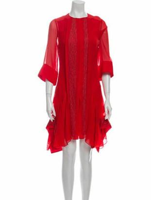 Chloé Crew Neck Knee-Length Dress Orange