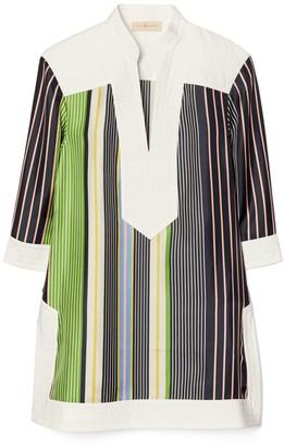 Tory Burch Short-Sleeve Stripe Tunic