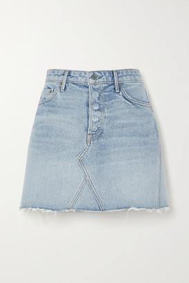 GRLFRND Eva Frayed Denim Mini Skirt - Mid denim
