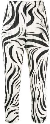 Pleats Please Issey Miyake zebra-pattern pleated trousers
