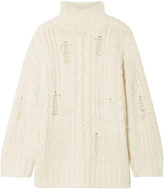 Current/Elliott Distressed Cable-knit Turtleneck Sweater