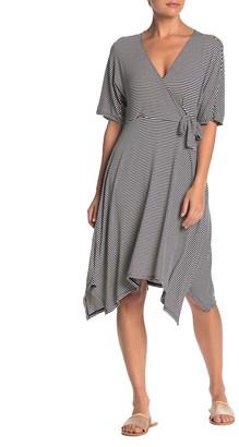 Bobeau Stripe Asymmetrical Hem Midi Dress