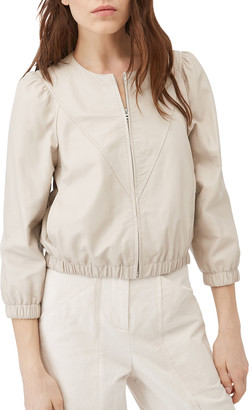 Rebecca Taylor Zip-Front Leather Bomber Jacket