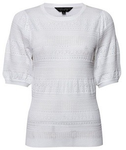 Dorothy Perkins Womens Ivory Pointelle Puff T