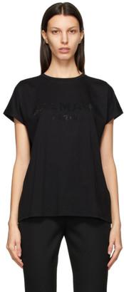 Balmain Black Rhinestone Logo T-Shirt