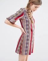 Anna Sui Shift Dress in Serape Stripe Tapestry