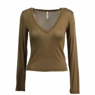 Tresics Women's Trendy Basic Junior Deep V-Neck Long Sleeve Cropped Top T-Shirt
