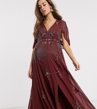 ASOS DESIGN Maternity maxi dress with linear sequin and floral beading