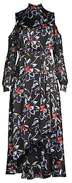 Diane von Furstenberg Women's Silk High-Low Cold Shoulder Floral Dress