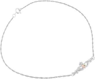 Black Hills Gold Claddagh Ankle Bracelet, Sterling/12K Gold