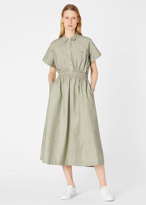 Paul Smith Women's Pistachio Cotton And Silk Midi Shirt Dress